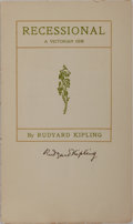 Autographs:Authors, Rudyard Kipling (British Writer). Signature on small pamphlet.Spine split and covers detached. Overall very good....