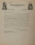 Autographs:Authors, Joyce Kilmer (American Writer and Poet). Typed Letter Signed. Creases and toning. Very good....