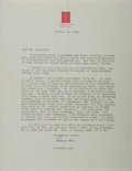 Autographs:Artists, Rockwell Kent (American Painter and Illustrator). Typed Letter Signed. Creases. Very good....