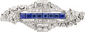 Estate Jewelry:Brooches - Pins, Art Deco Diamond, Sapphire, Platinum, White Gold Double-Clip-Brooch. ...