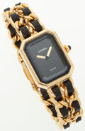 Luxury Accessories:Accessories, Chanel Premiere 18k Gold Plated Watch with Black Details. ...