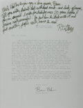 Autographs:Authors, R. L. Stine (American Writer). Autograph Letter Signed. Written asa reply over senders typed letter. Horizontal folds. Near...