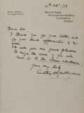 Autographs:Authors, Anthony Hope Hawkins (British Writer). Autograph Letter Signed.Very good....