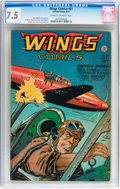 Golden Age (1938-1955):Adventure, Wings Comics #81 (Fiction House, 1947) CGC VF- 7.5 Cream tooff-white pages....