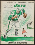 Football Collectibles:Programs, 1965 New York Jets Multi Signed Programs - With Joe Willie Namath Rookie Signature!....