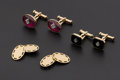Estate Jewelry:Cufflinks, Three Pair Of Gold filled Cufflinks. ... (Total: 3 Items)
