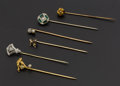 Estate Jewelry:Stick Pins and Hat Pins, Size Early 14k Gold Stick Pins. ... (Total: 6 Items)