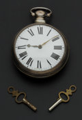 Timepieces:Pocket (pre 1900) , Swiss Heavy Silver Pair Case Verge Fusee Pocket Watch. ...