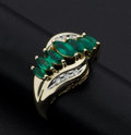 Estate Jewelry:Rings, Marquis Emerald & Diamond Gold Ring. ...