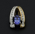Estate Jewelry:Pendants and Lockets, Tanzanite & Diamond Gold Slide. ...