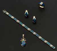 Synthetic Inlaid Opal Pineapple Pendant, Earrings, Bracelet & Natural Opal Ring