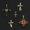 Estate Jewelry:Pendants and Lockets, A Lot Of Five Gemstone & Gold Crosses. ... (Total: 5 Items)