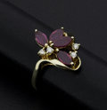 Estate Jewelry:Rings, Marquis Rubies & Diamond Gold Ring. ...