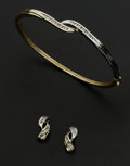 Estate Jewelry:Coin Jewelry and Suites, Diamond Bypass Bangle & Gold Earrings. ... (Total: 2 Items)