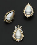Estate Jewelry:Coin Jewelry and Suites, Pear Shaped Mabe Pearl & Diamonds Pendant & Earrings. ... (Total: 2 Items)
