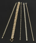 Estate Jewelry:Bracelets, A Lot Of Five Diamond & Gold Tennis Bracelets. ... (Total: 5Items)