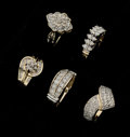 Estate Jewelry:Rings, A Lot Of Lady's Diamond & Gold Rings. ... (Total: 5 Items)