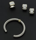 Estate Jewelry:Coin Jewelry and Suites, David Yurman Sterling & Gold Ring, Bangle, Bracelet &Earrings. ... (Total: 4 Items)