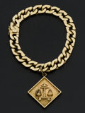 Estate Jewelry:Bracelets, Heavy Curb Link Gold Bracelet & Law Of Balance Justice Charm. ...