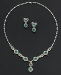 Estate Jewelry:Coin Jewelry and Suites, Emerald & Diamond Gold Necklace & Earrings. ...