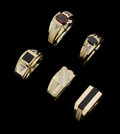 Estate Jewelry:Rings, A Lot Of Five Gent's Gemstone Gold Rings. ... (Total: 5 Items)