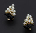 Estate Jewelry:Earrings, Freshwater Pearl Cluster & Carved Onyx Gold Earrings. ...