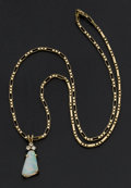 Estate Jewelry:Necklaces, Opal Doublet & Diamond Gold Necklace. ...