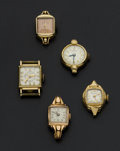 Timepieces:Wristwatch, Five Vintage Lady's 14k Gold Wristwatches. ... (Total: 5 Items)