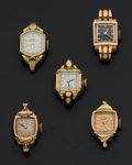 Timepieces:Wristwatch, Three 14k Gold & Two Gold Filled Lady's Vintage Wristwatches. ... (Total: 5 Items)