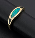 Estate Jewelry:Rings, Inlaid Fiery Opal Gold Ring. ...