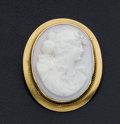 Estate Jewelry:Cameos, Coral 10k Gold Cameo Pin/Pendant. ...