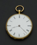 Timepieces:Pocket (pre 1900) , Swiss 14k Gold Key Wind Pocket Watch. ...
