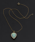 Estate Jewelry:Pearls, Opal Doublet & Diamond Gold Pendant. ...