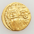 Ancients:Byzantine, Ancients: Constans II, with Constantine IV, Heraclius, and Tiberius(AD 641-668). AV solidus (4.41 gm). ...
