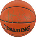 "Basketball Collectibles:Balls, Larry Bird Signed Leather ""Spalding"" NBA UDA Basketball. ..."