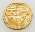 Ancients:Byzantine, Ancients: Constans II, with Constantine IV, Heraclius, and Tiberius(AD 641-668). AV solidus (4.42 gm). ...