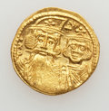 Ancients:Byzantine, Ancients: Constans II, with Constantine IV, Heraclius and Tiberius(AD 641-668). AV solidus (4.47 gm)....
