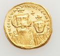 Ancients:Byzantine, Ancients: Constans II, with Constantine IV (AD 641-668). AV solidus(4.41 gm). ...
