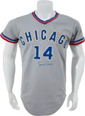 Baseball Collectibles:Uniforms, 1972 Ernie Banks Game Worn Chicago Cubs Coach's Jersey....