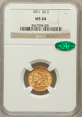 Liberty Quarter Eagles, 1851 $2 1/2 MS64 NGC. CAC....