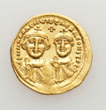 Ancients:Byzantine, Ancients: Heraclius, with Heraclius Constantine (AD 610-641). AVsolidus (4.47 gm). ...