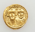 Ancients:Byzantine, Ancients: Heraclius, with Heraclius Constantine (AD 610-641). AVsolidus (4.45 gm)....
