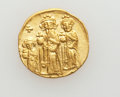 Ancients:Byzantine, Ancients: Heraclius, with Heraclius Constantine and Heraclonas (AD610-641). AV solidus (4.50 gm)....
