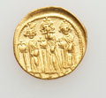 Ancients:Byzantine, Ancients: Heraclius, with Heraclius Constantine and Heraclonas (AD610-641). AV solidus (4.42 gm)....