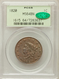 1820 1C Large Date MS64 Brown PCGS. CAC. N-13, R.1....(PCGS# 1615)