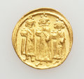 Ancients:Byzantine, Ancients: Heraclius, with Heraclius Constantine and Heraclonas (AD610-641). AV solidus (4.42 gm). ...