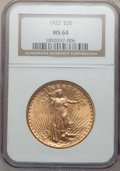 Saint-Gaudens Double Eagles: , 1922 $20 MS64 NGC. NGC Census: (7565/483). PCGS Population(7276/1245). Mintage: 1,375,500. Numismedia Wsl. Price for probl...