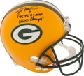 Football Collectibles:Helmets, Brett Favre Signed, Inscribed Authentic Full Sized Helmet. ...