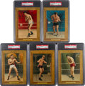 Boxing Cards:General, 1910-11 T9 Turkey Red Boxing Cabinets PSA-Graded Collection (5). ...