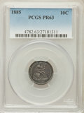 Proof Seated Dimes: , 1885 10C PR63 PCGS. PCGS Population (45/171). NGC Census: (39/131).Mintage: 930. Numismedia Wsl. Price for problem free NG...